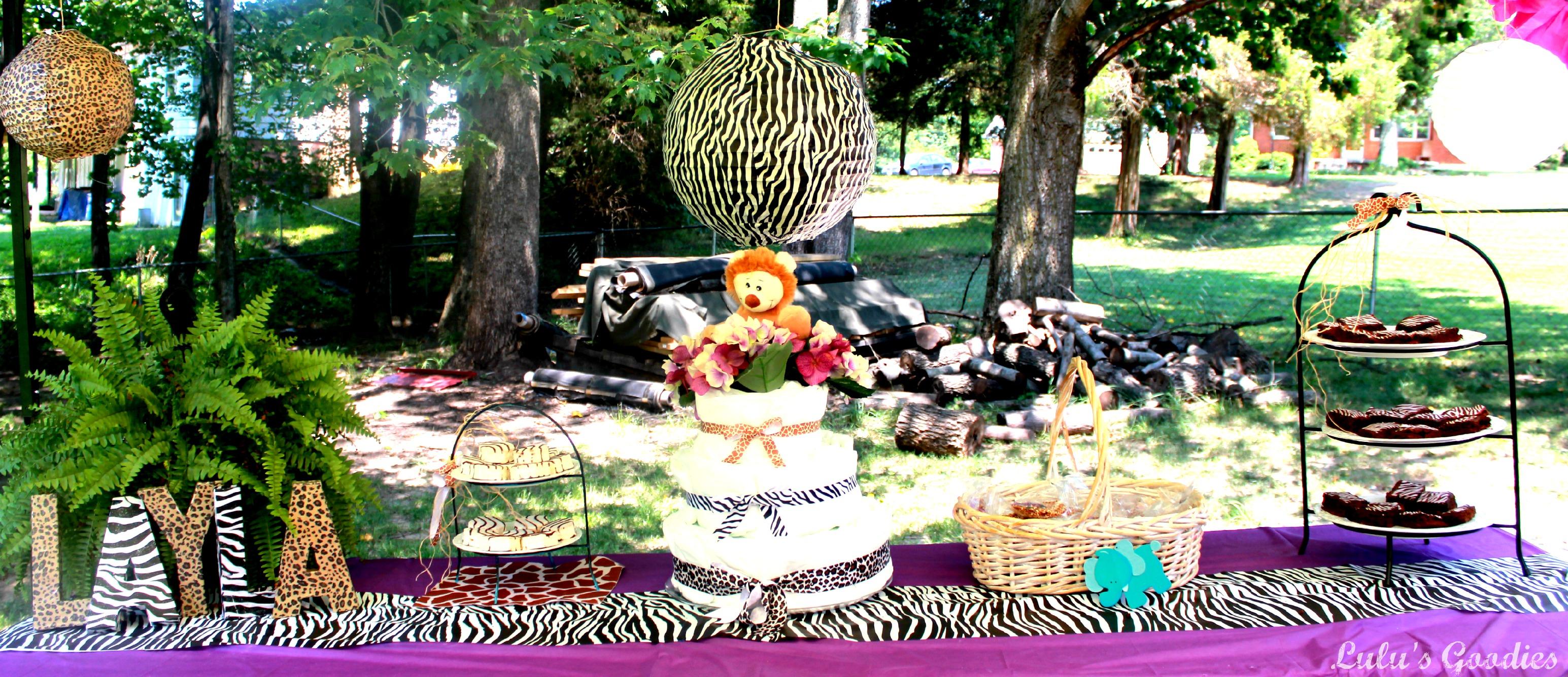 Purple Safari Baby Shower Decorations