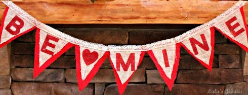 "Valentines Day ""Be Mine"" Burlap Banner"