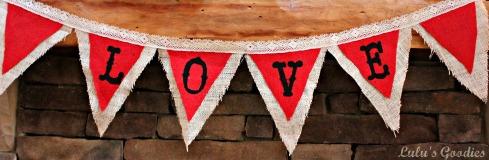 """Valentines Day Burlap """"Love"""" Banner"""