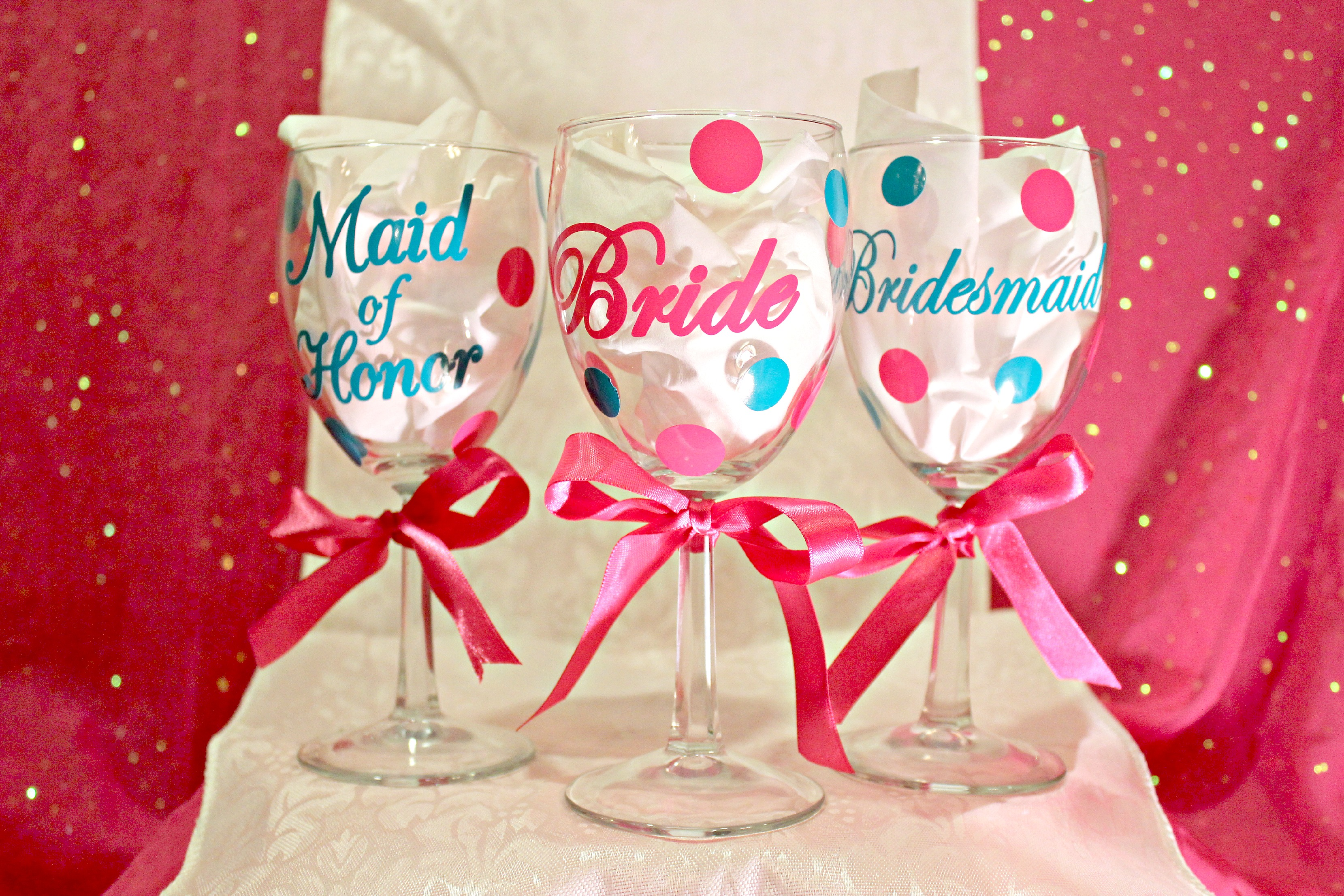 Vinyl Wedding Wine Glasses | Lulu\'s Goodies