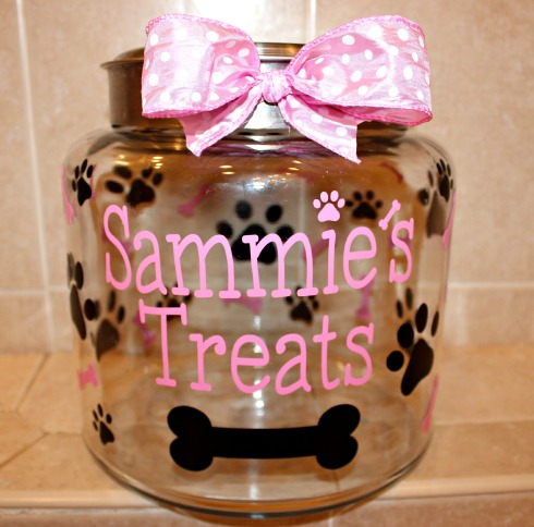 Personalized Vinyl Dog Treat Jar Decal