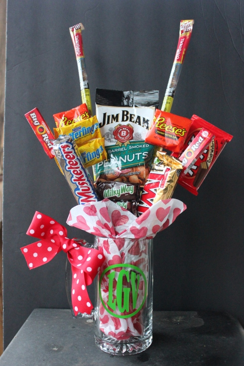 Monogramed Mug & candy bouquet