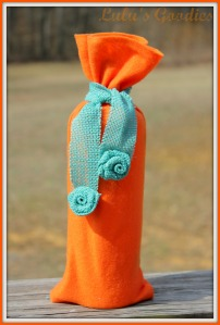 Orange Felt Wine Bag with Aqua Burlap Rosettes