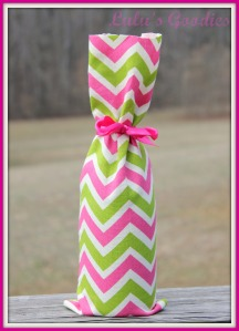 Pink and Geen Chevron Wine Bag