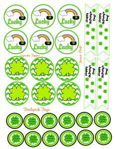 St.Pattys Day Cupcake Toppers, Toothpick Tags & Straw Flags