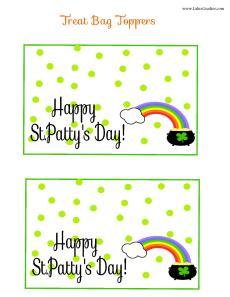St. Pattys Day Treat Bag Toppers