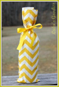 Yellow Chevron Wine Bag